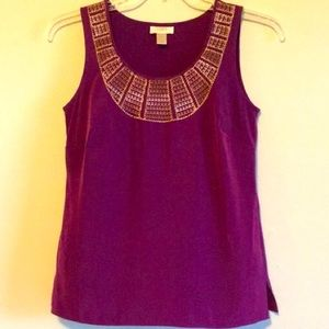 Embroidered Tank Top Striped Blouse Cami Purple